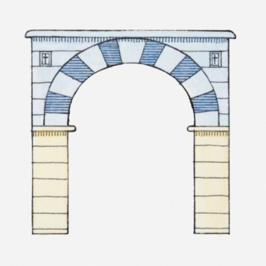 Stock Photo: 4268R-6599 Illustration of a basket arch, also called semi-elliptical arch, Palatine Chapel (Pfalzkapelle), Aachen, Germany, 790-798
