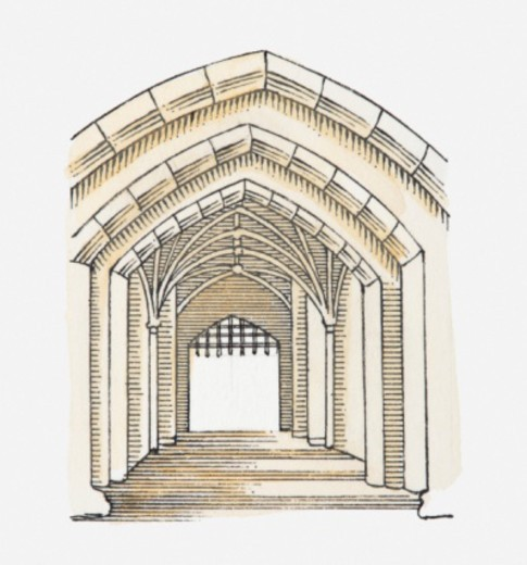 Illustration of a Tudor arch, Tower of London, London, England, c. 1086-1097 : Stock Photo