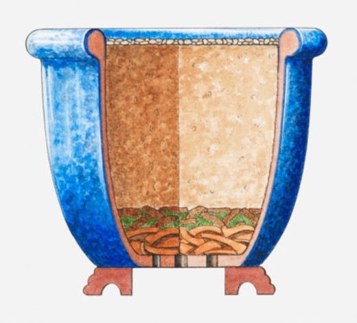Stock Photo: 4268R-6610 Cross section illustration of blue plant pot showing layers of gravel, compost, turves, and drainage at base