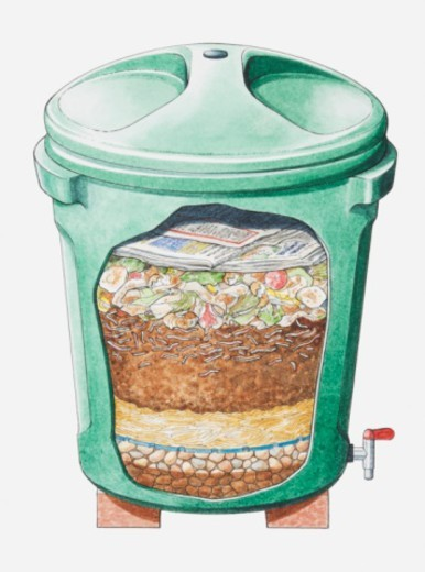 Cross section illustration of green plastic compost bin on bricks showing layers of stones, straw, soil, food waste and newspaper : Stock Photo