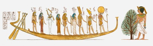 Illustration of scene from the life of Tutankhamen : Stock Photo