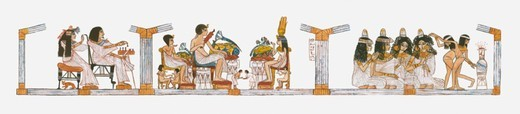 Stock Photo: 4268R-6705 Illustration of Ancient Egyptian scene inside royal court