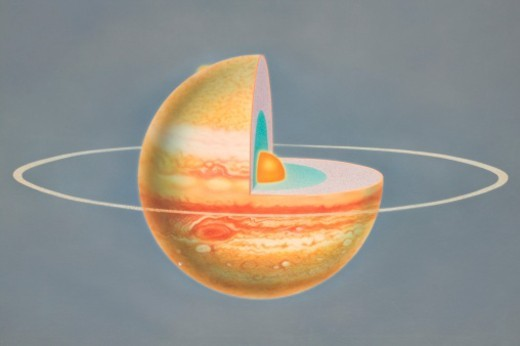 Diagram of planet Jupiter with quarter of sphere removed to reveal subterranean layers, front view. : Stock Photo