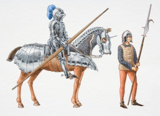 15th century knight and billman, side view. : Stock Photo