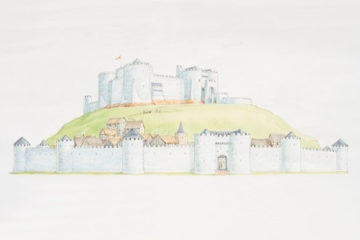 Stock Photo: 4268R-7193 Castle on mound overlooking settlement surrounded by town wall.