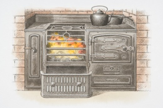 Illustration, iron kitchen stove burning coal. : Stock Photo