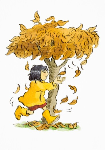Smiling girl in yellow coat and matching boots running with outstretched arms, trying to catch autumn leaves falling from tree, side view, Cartoon : Stock Photo