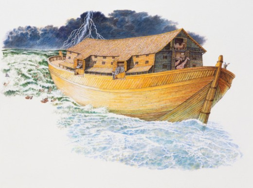 Stock Photo: 4268R-7405 Noah's ark sailing through stormy waters with thunderous sky above