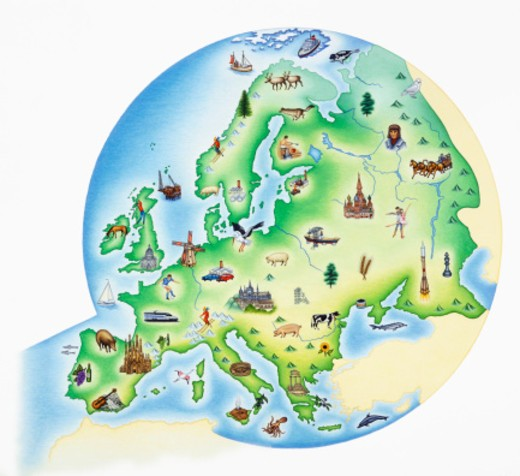 Map of Europe with illustrations of famous landmarks and items associated with various countries : Stock Photo