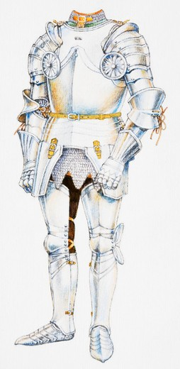 Knight's suit of plate armor : Stock Photo