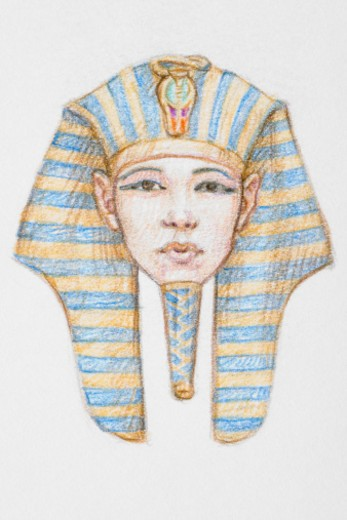 Stock Photo: 4268R-7734 Tutankhamen wearing headress