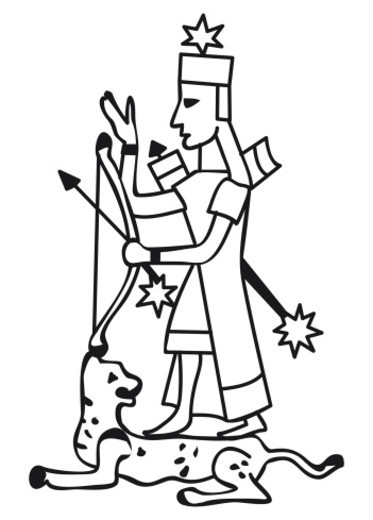 Stock Photo: 4268R-8496 Black and white illustration of Sumerian fertility goddess Ishtar adorned with five-point morning star, holding cross bow, with tiger lying at feet