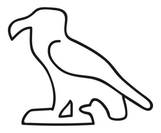 Black and white illustration of Egyptian hieroglyph of eagle : Stock Photo