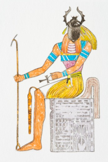 Stock Photo: 4268R-8663 Illustration of Ancient Egyptian god Kheper with scarab beetle on face
