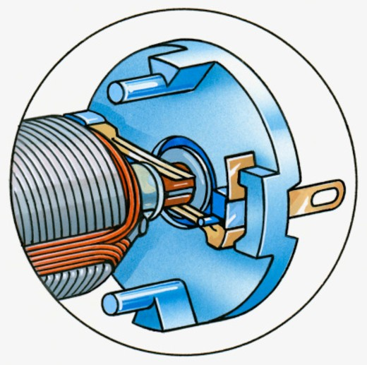 Illustration of multipole electric motor with metal magnetic strips and commutator : Stock Photo
