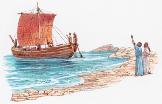 Illustration of Paul on ship leaving Cyprus as two men wave on coastline : Stock Photo