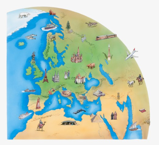 Stock Photo: 4268R-9169 Illustration of Europe, North Africa, the Middle East, parts of Asia, and Antarctica, showing fauna, flora and places of interest