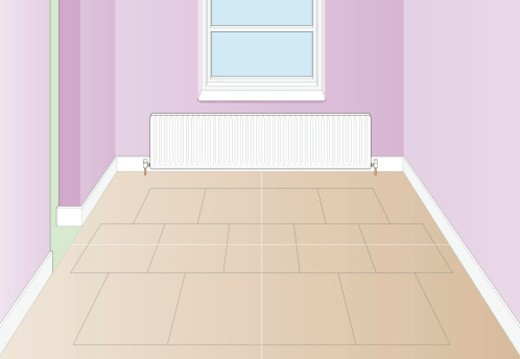 Stock Photo: 4268R-9181 Digital Illustration of hardboard on top of floorboards in empty room