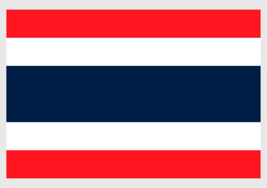 Illustration of flag of Thailand, with five horizontal red, white and blue stripes : Stock Photo