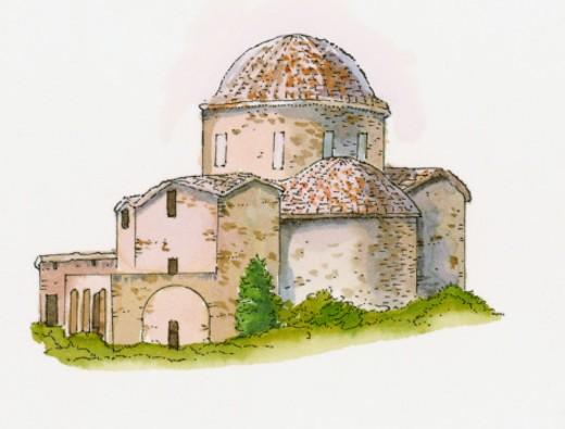 Illustration of Panayia Absinthiotissa Church, North Cyprus : Stock Photo
