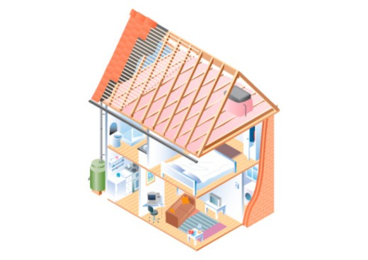 Digital cross section illustration of house interior, attic and drainpipe connected from guttering to water butt below : Stock Photo