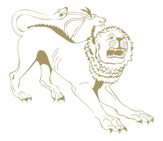 Digital illustration of Chimaera, a fearsome creature from Greek mythology with lioness head, goat's neck and head halfway along back, and tail in form of hissing snake : Stock Photo