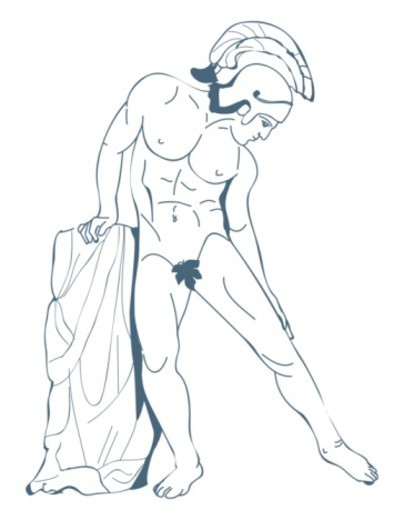 Digital illustration of ancient Greek hero Achilles, naked apart from fig leaf and helmet : Stock Photo