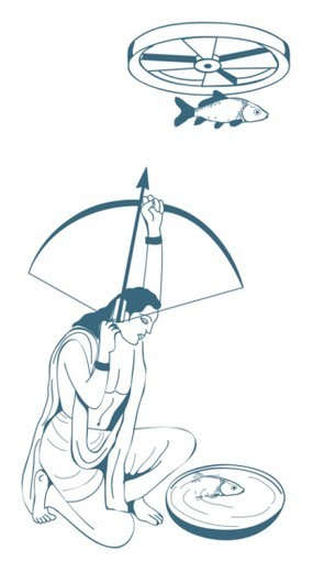 Digital illustration of skilled archer Arjuna aiming arrow at fish hung from revolving wheel above h : Stock Photo