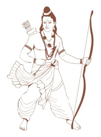Digital illustration of Rama with cross bow and arrows : Stock Photo