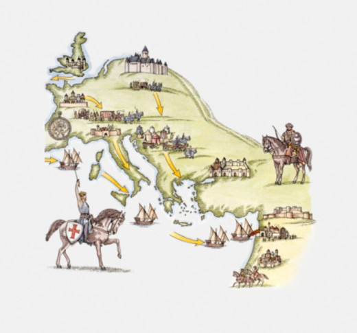 Stock Photo: 4268R-9770 Illustration of map showing Crusader's movements across Europe and the Middle East to Jerusalem betw