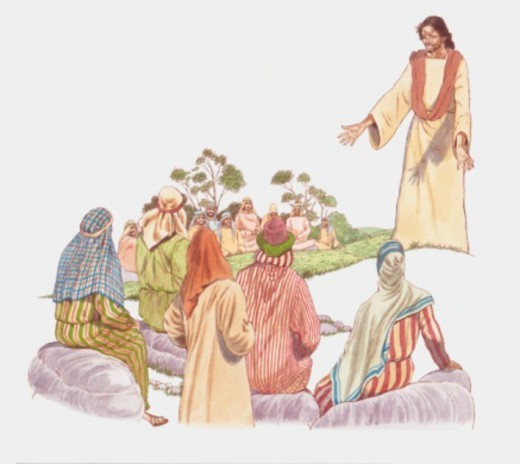 Digital illustration of Jesus preaching Sermon on the Mount to his desciples : Stock Photo