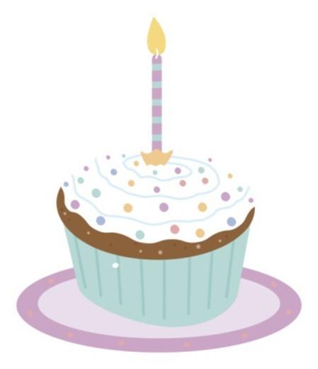 Illustration of burning candle on top of fairy cake : Stock Photo