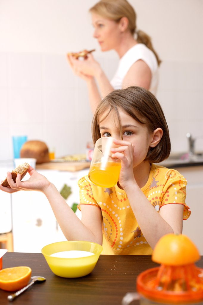 Child having breakfast or snack. : Stock Photo