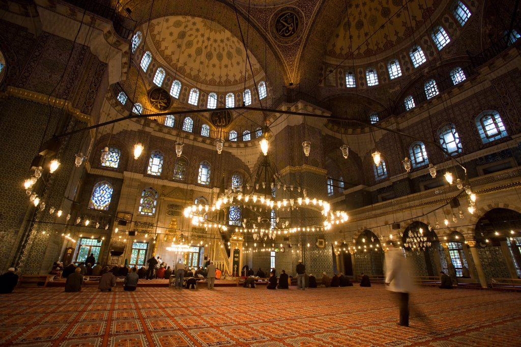 Stock Photo: 4269-12047 Interior of Yeni Cami, the New Mosque, Istanbul, Turkey.