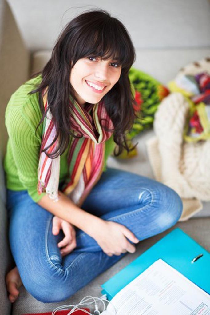 Teenage girl with school books. : Stock Photo
