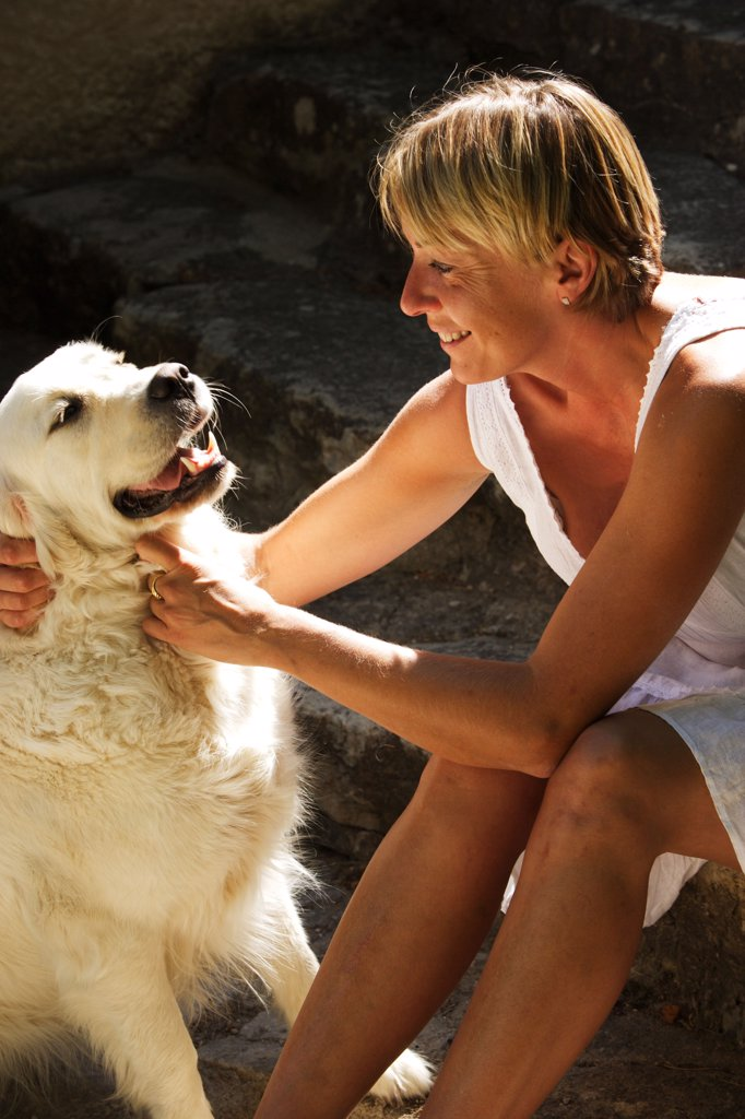 Woman with her dog. : Stock Photo