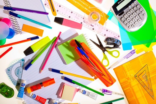 Stock Photo: 4269-15635 School stationery supplies.