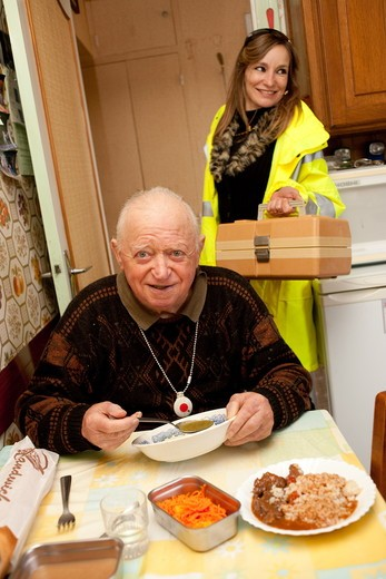 Stock Photo: 4269-16907 Food catering at home for elderly persons.