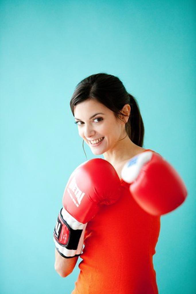 Woman boxing. : Stock Photo