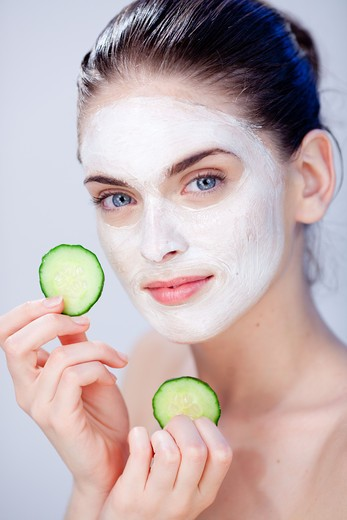 Woman with cosmetic beauty mask. : Stock Photo