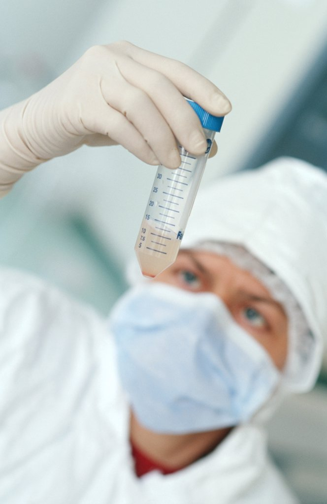 Laboratory. Cellular therapy Controls and estimate of the stems cells  Umbilical cord blood sample : Stock Photo
