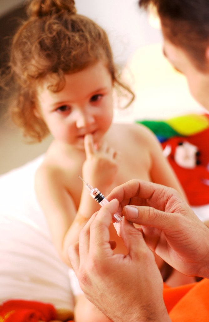 Stock Photo: 4269-26611 Medical consultation. 3 years old child