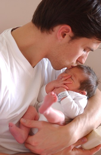 Stock Photo: 4269-26852 Father and baby. 4 days old baby