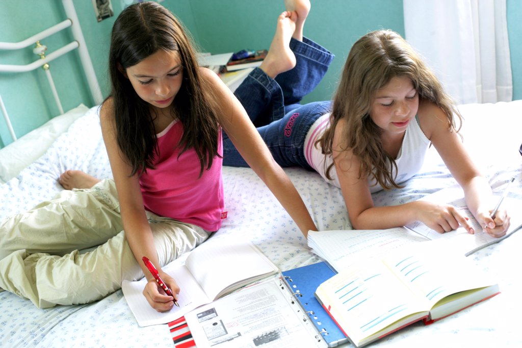 Stock Photo: 4269-2946 11 and 12 years old sisters doing their homework.