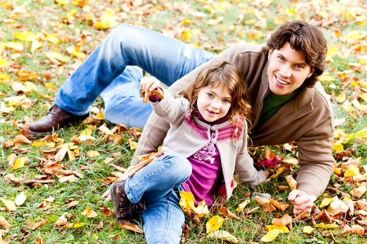 Father and daughter. Father and his 7 years old daughter. : Stock Photo