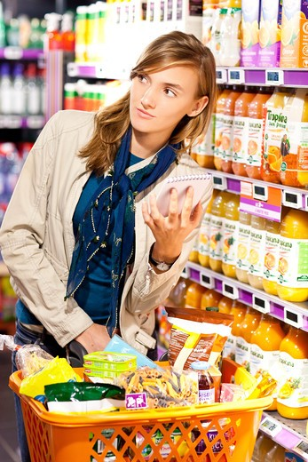 Supermarket. Grocery shopping reminder list. : Stock Photo