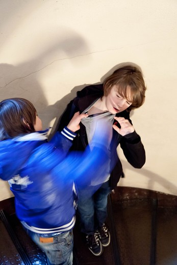 Fight between young boy. : Stock Photo