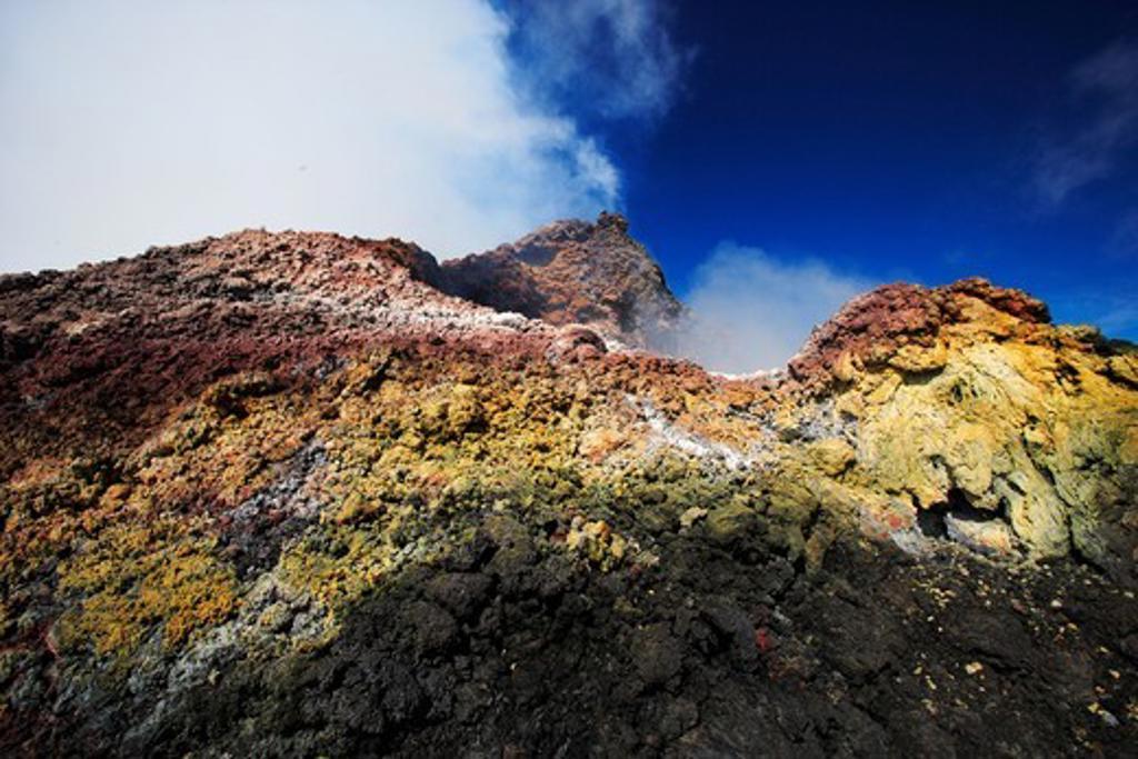 Sulphur smokes and rocks of the Pacaya, 2 552 m high active volcano, near Antigua, Guatemala. : Stock Photo
