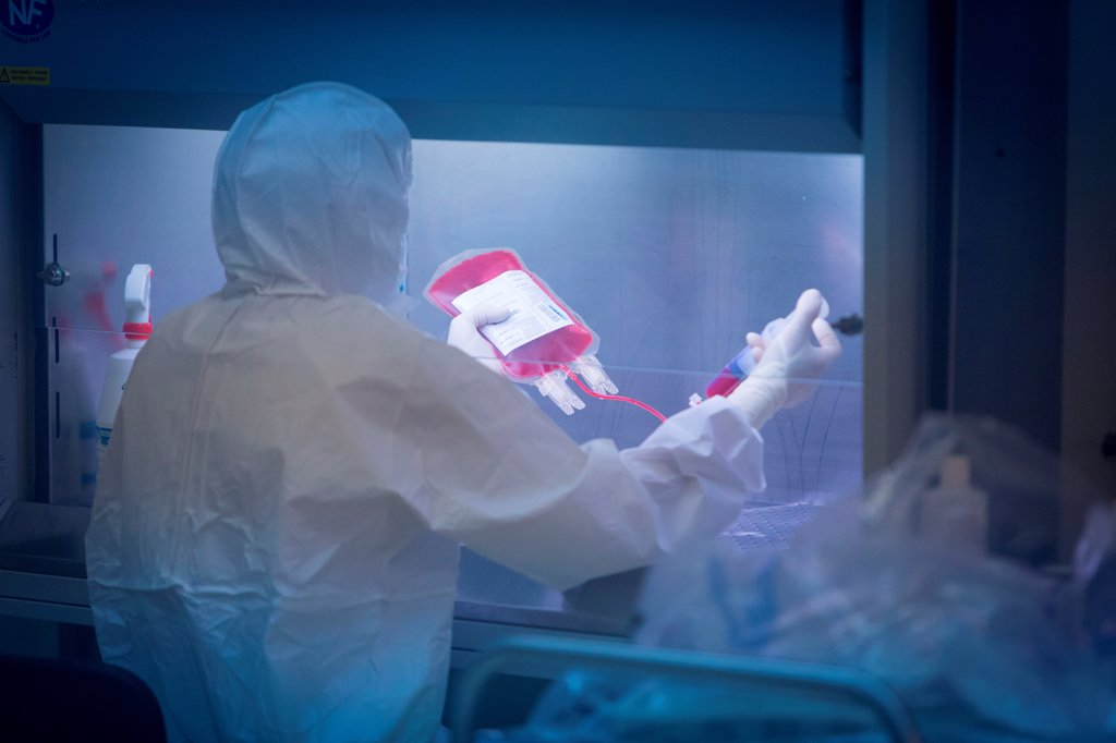 Technician preparing a hematopoietic stem cells bag , Cell Therapy Unit, CTSA in Clamart, France. : Stock Photo