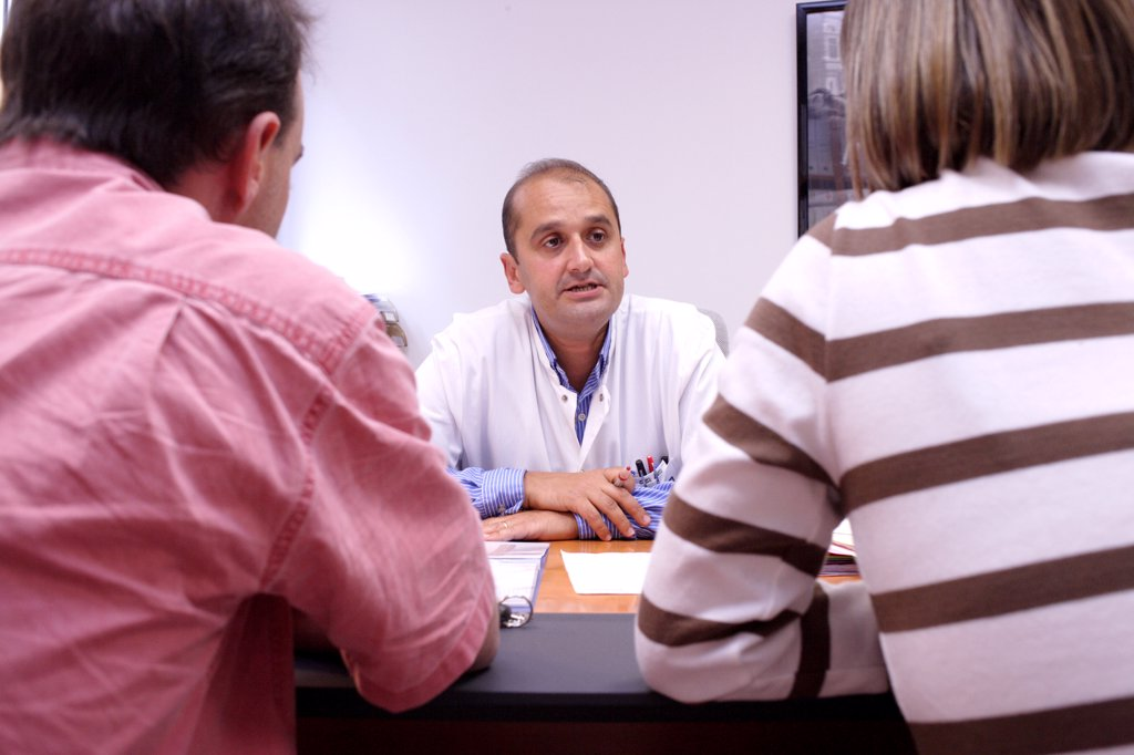 Couple in medical consultation for problems of sterility. Limoges hospital, France. : Stock Photo